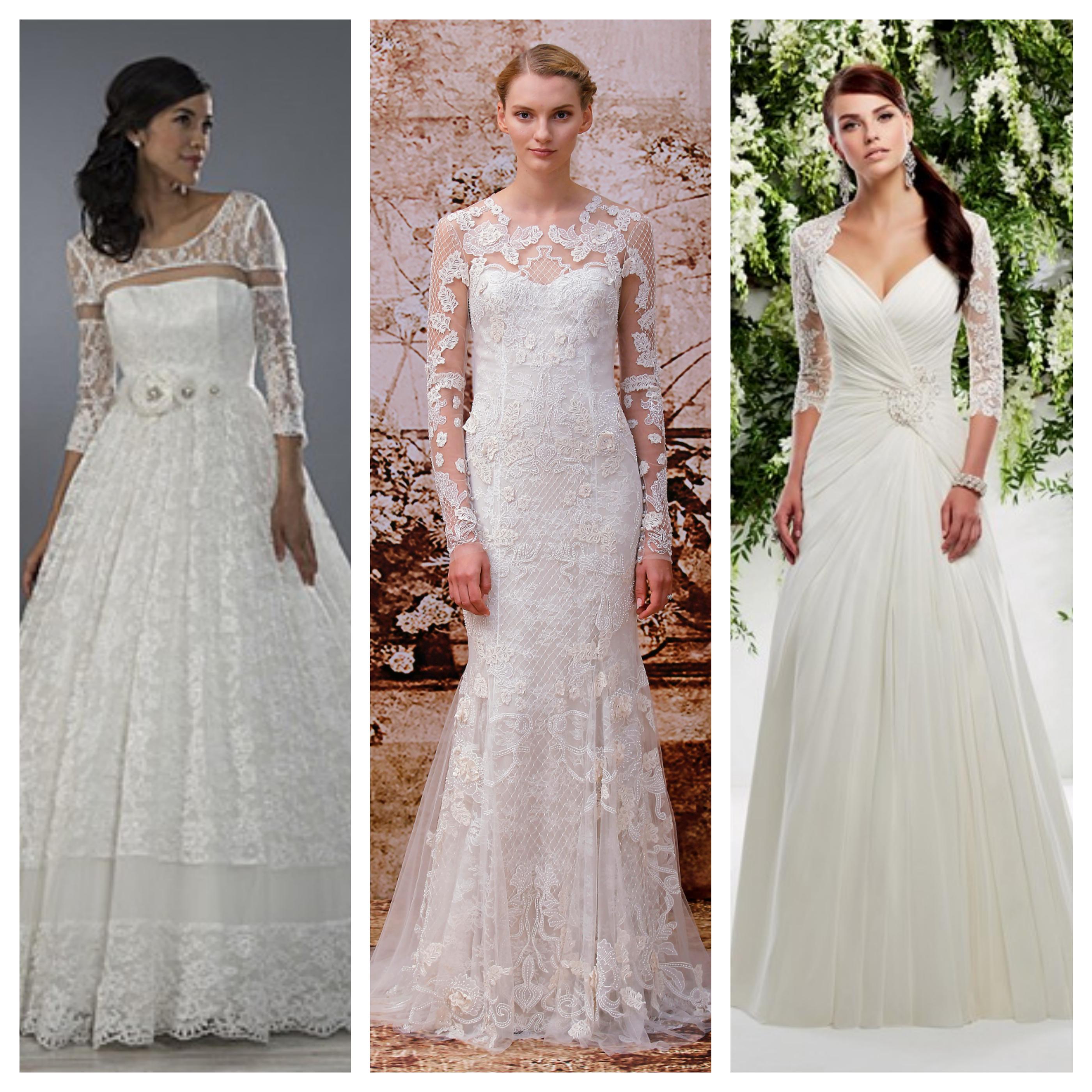 Originální svatební šaty s dlouhými rukávy